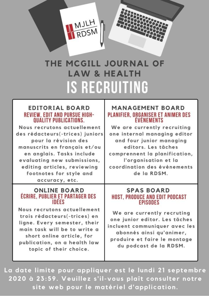 MJLH Student Recruitment / RDSM Recrutement d'étudiants ...